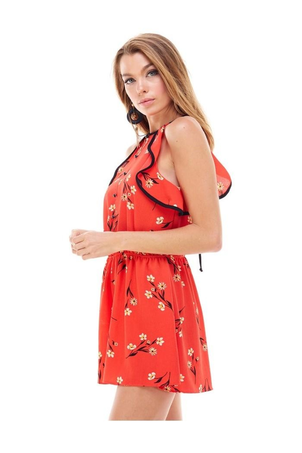 Miley and Molly Bubble Crepe Floral Print Romper - Front Full Image