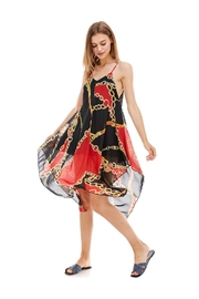 Miley and Molly Chain Print Hanky Hem Scarf Midi Dress - Front cropped