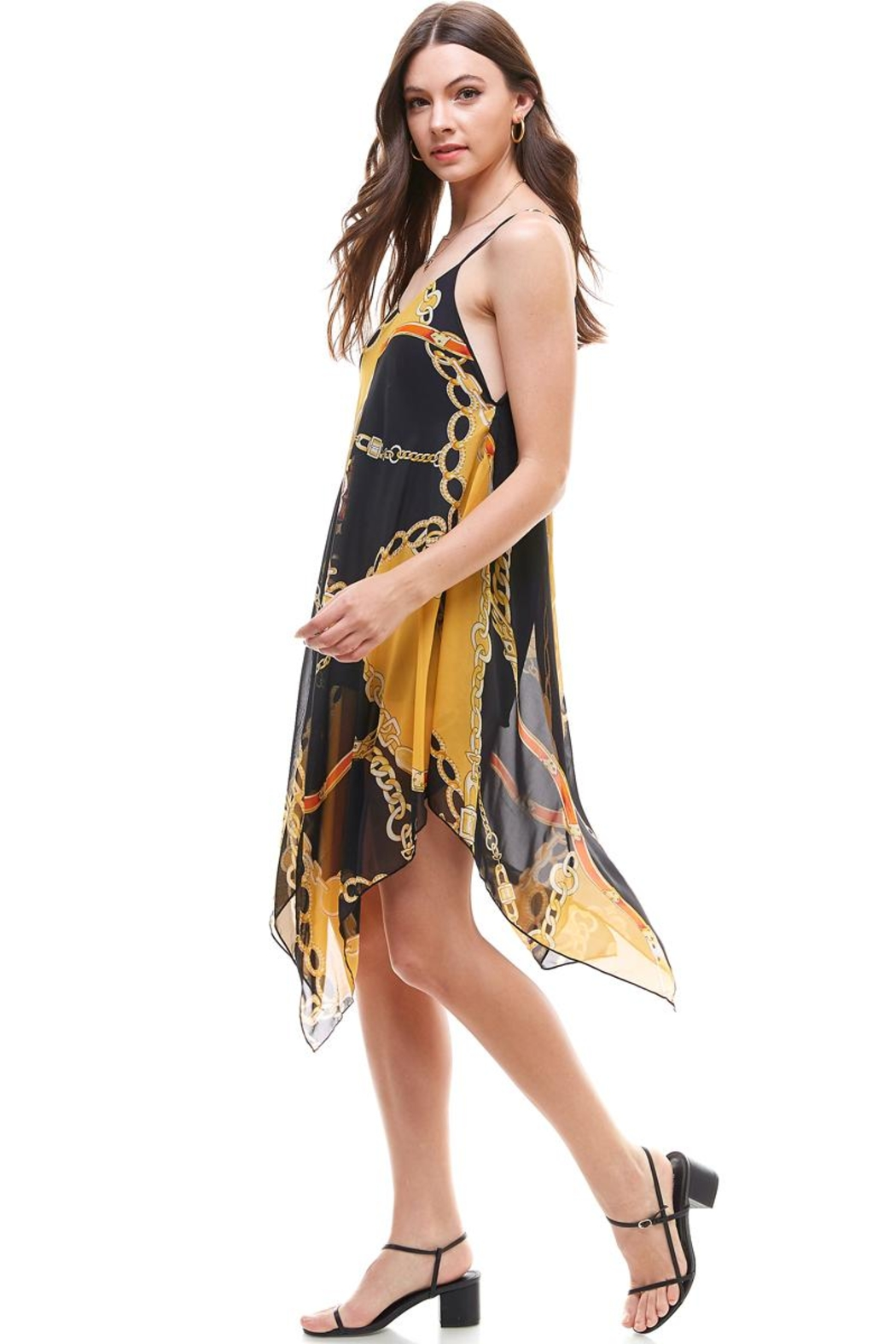 Miley and Molly Chain Print Hanky Hem Scarf Midi Dress - Front Full Image