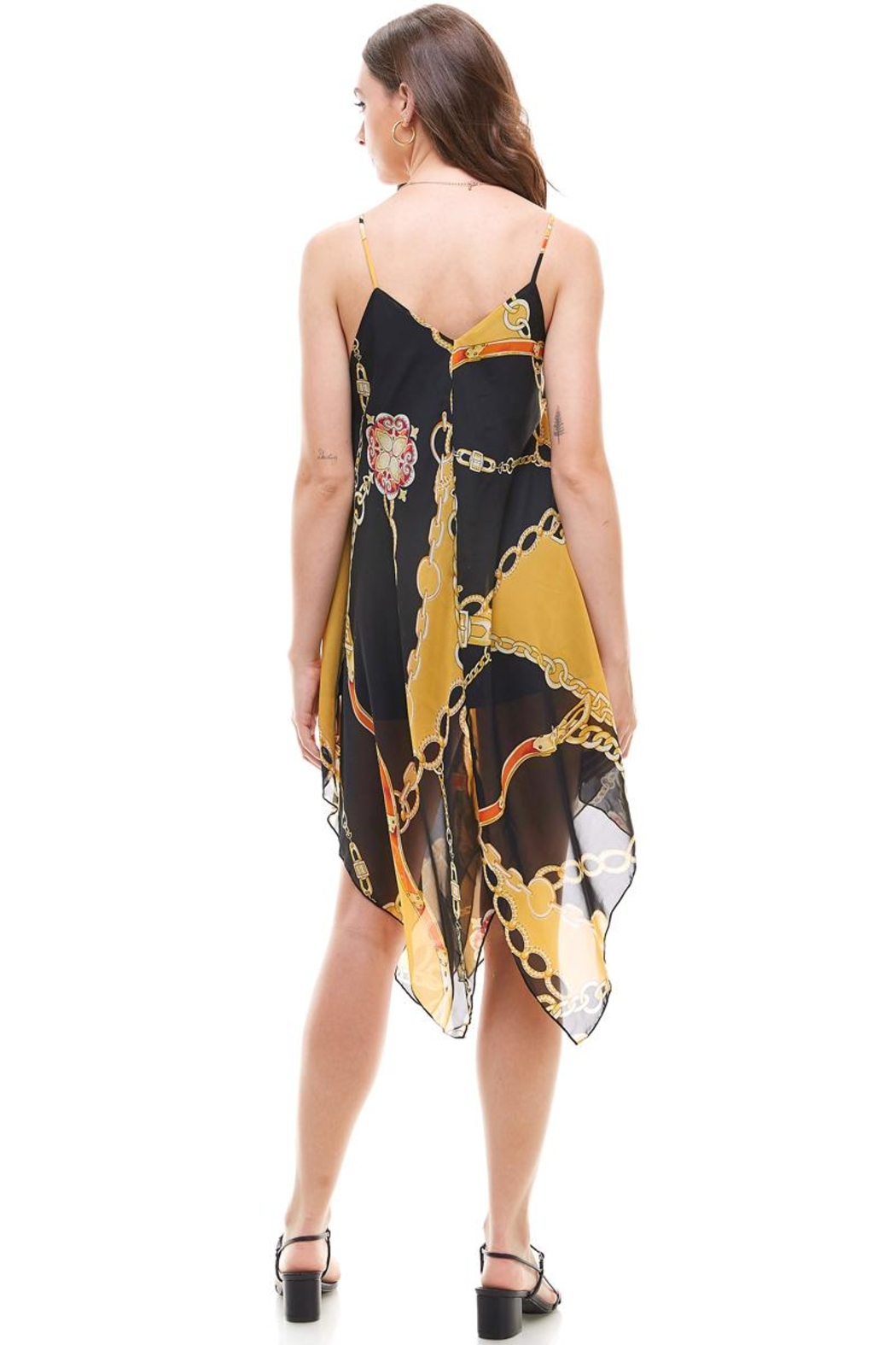 Miley and Molly Chain Print Hanky Hem Scarf Midi Dress - Side Cropped Image