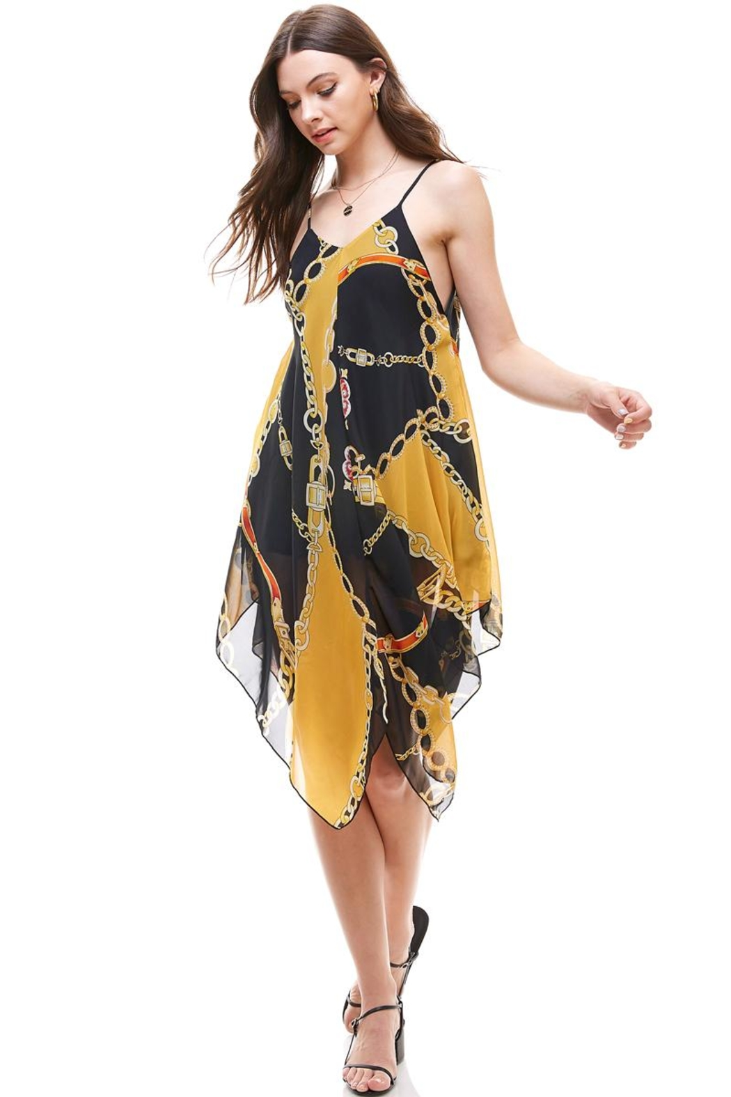 Miley and Molly Chain Print Hanky Hem Scarf Midi Dress - Front Cropped Image