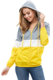 Miley and Molly Color Block Mesh Lining Windbreaker Hoodie Jacket Top - Product Mini Image