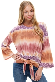 Miley and Molly Cozy Knit Tie Dye Effect Tie Front Top - Product Mini Image