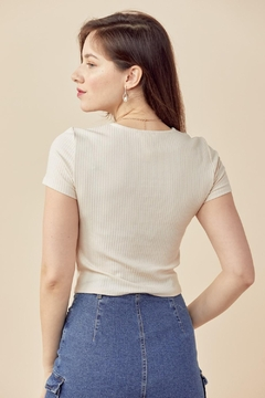 Miley and Molly Crew Neck Short Sleeves Top Keyhole Chest Rib - Alternate List Image