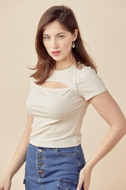 Miley and Molly Crew Neck Short Sleeves Top Keyhole Chest Rib - Front full body