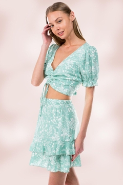 Shoptiques Product: Crop Top And Mini Skirt Matching Sets