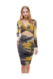 Miley and Molly Crop Top Blouse Midi Skirt Matching Set - Front cropped