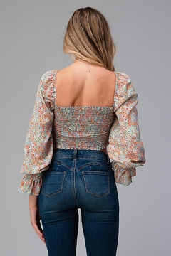 Miley and Molly Daisy Floral Long Sleeve Crop Blouse Top - Alternate List Image