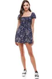 Miley and Molly Daisy Floral Smocked Chest Puff Sleeves Romper - Side cropped