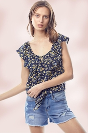 Miley and Molly Ditsy Floral Flounce Ruffle Neck Tie Front Top - Front cropped