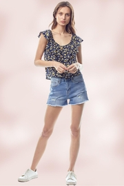 Miley and Molly Ditsy Floral Flounce Ruffle Neck Tie Front Top - Side cropped