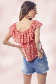 Miley and Molly Ditsy Floral Flounce Ruffle Neck Tie Front Top - Other