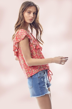 Miley and Molly Ditsy Floral Flounce Ruffle Neck Tie Front Top - Alternate List Image