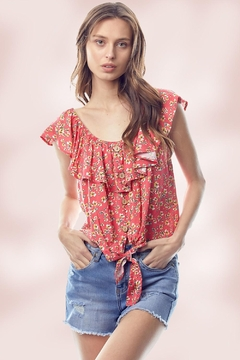 Miley and Molly Ditsy Floral Flounce Ruffle Neck Tie Front Top - Product List Image