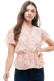 Miley and Molly Ditsy Floral Surplice Flutter Sleeves Peplum Top - Product Mini Image