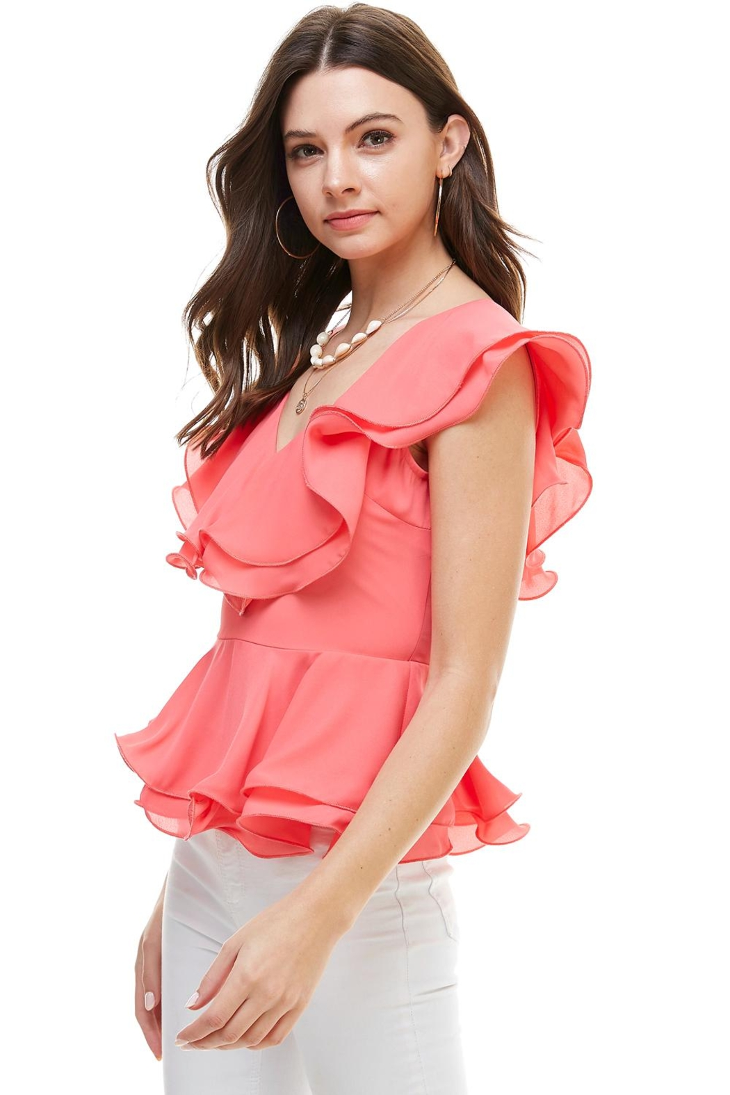 Miley and Molly Double Ruffles Peplum Blouse Top - Side Cropped Image