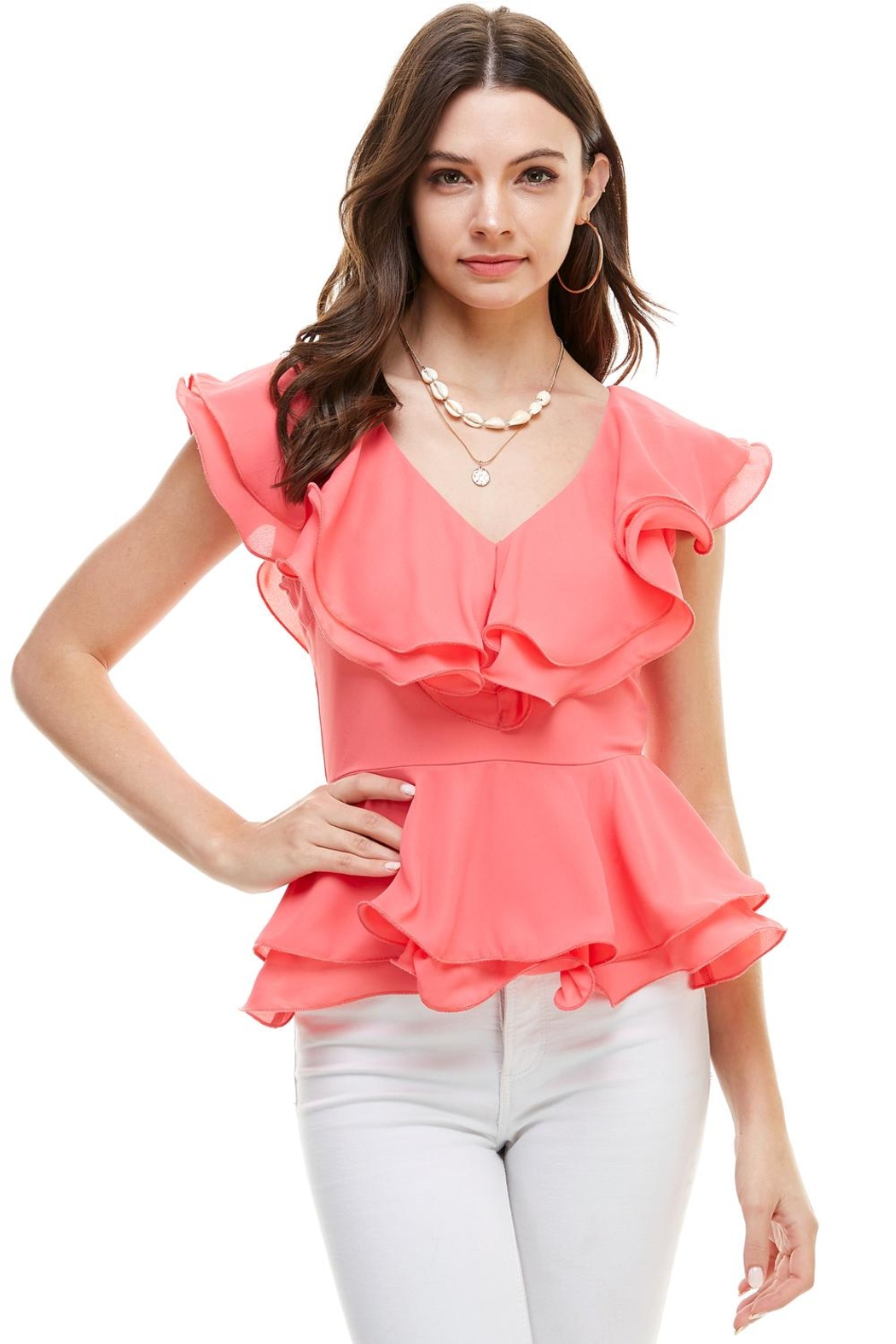 Miley and Molly Double Ruffles Peplum Blouse Top - Main Image