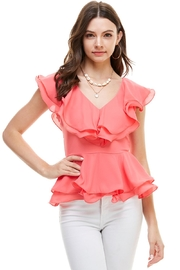 Miley and Molly Double Ruffles Peplum Blouse Top - Product Mini Image