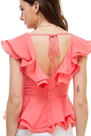 Miley and Molly Double Ruffles Peplum Blouse Top - Back cropped