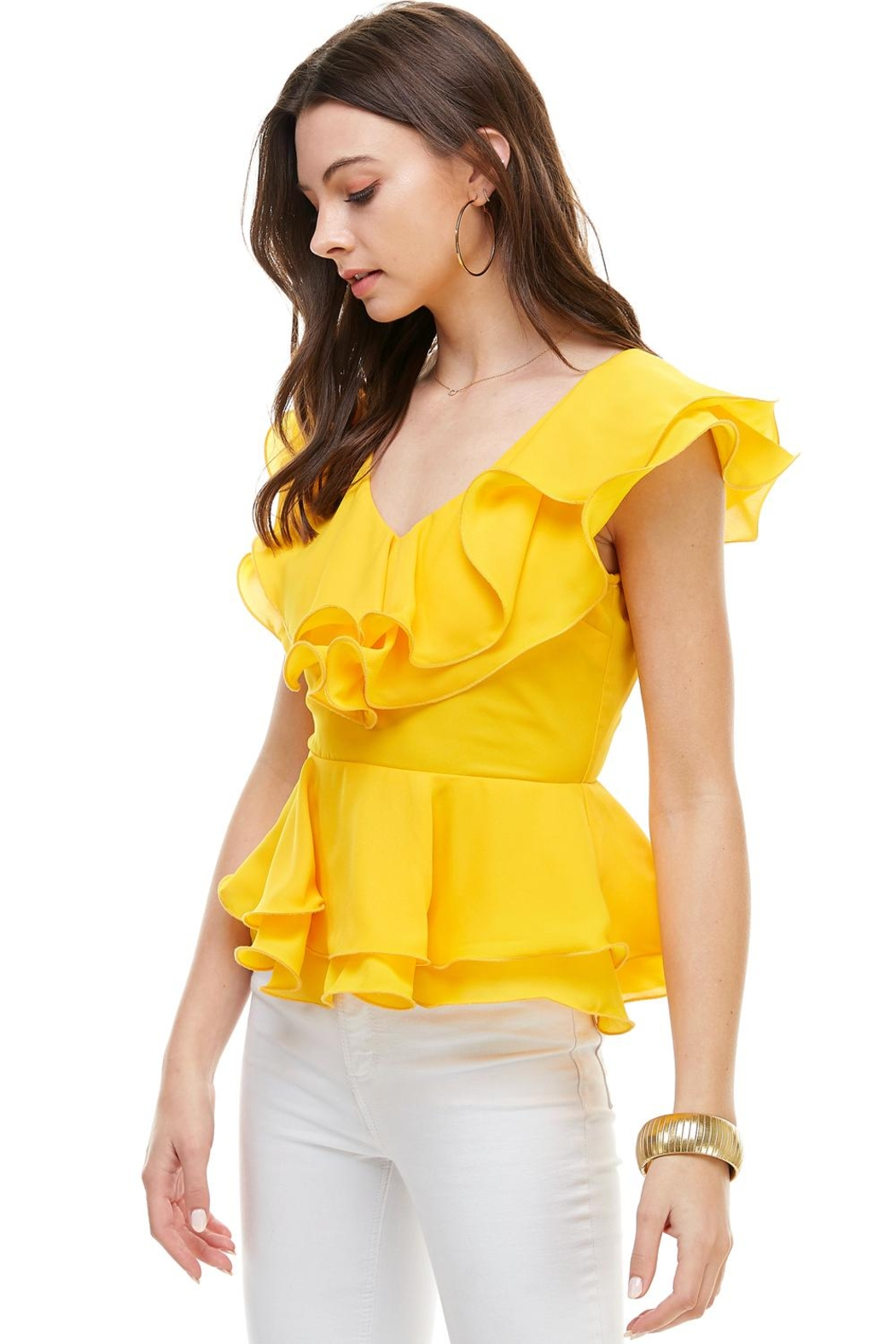 Miley and Molly Double Ruffles Peplum Blouse Top - Front Full Image