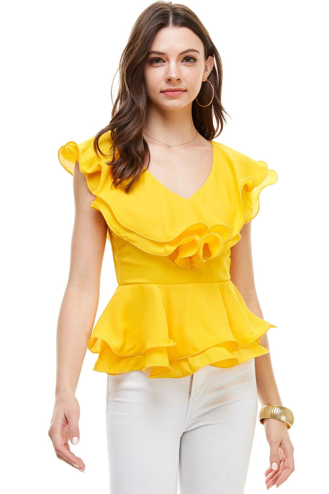 Miley and Molly Double Ruffles Peplum Blouse Top - Front Cropped Image