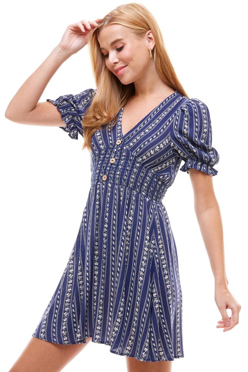 Miley and Molly Ethnic Floral Smock Waist Puff Sleeves Dress - Front Cropped Image
