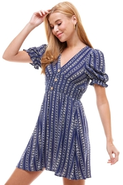 Miley and Molly Ethnic Floral Smock Waist Puff Sleeves Dress - Front cropped