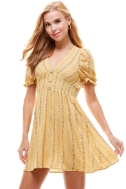 Miley and Molly Ethnic Floral Smock Waist Puff Sleeves Dress - Product Mini Image