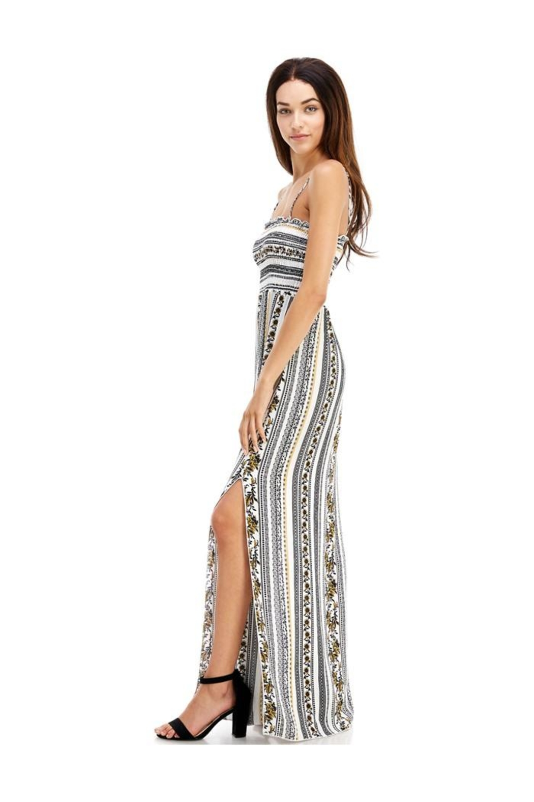 Miley and Molly Ethnic Linear Print Smocking Tube Top Maxi - Front Full Image