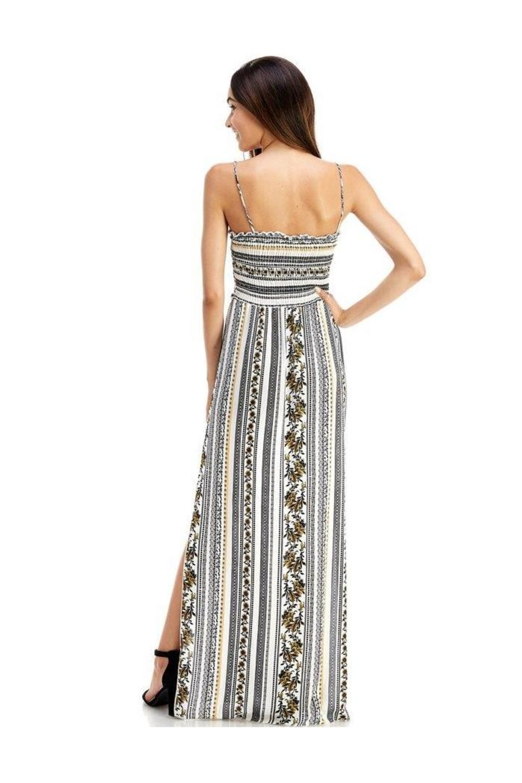 Miley and Molly Ethnic Linear Print Smocking Tube Top Maxi - Side Cropped Image