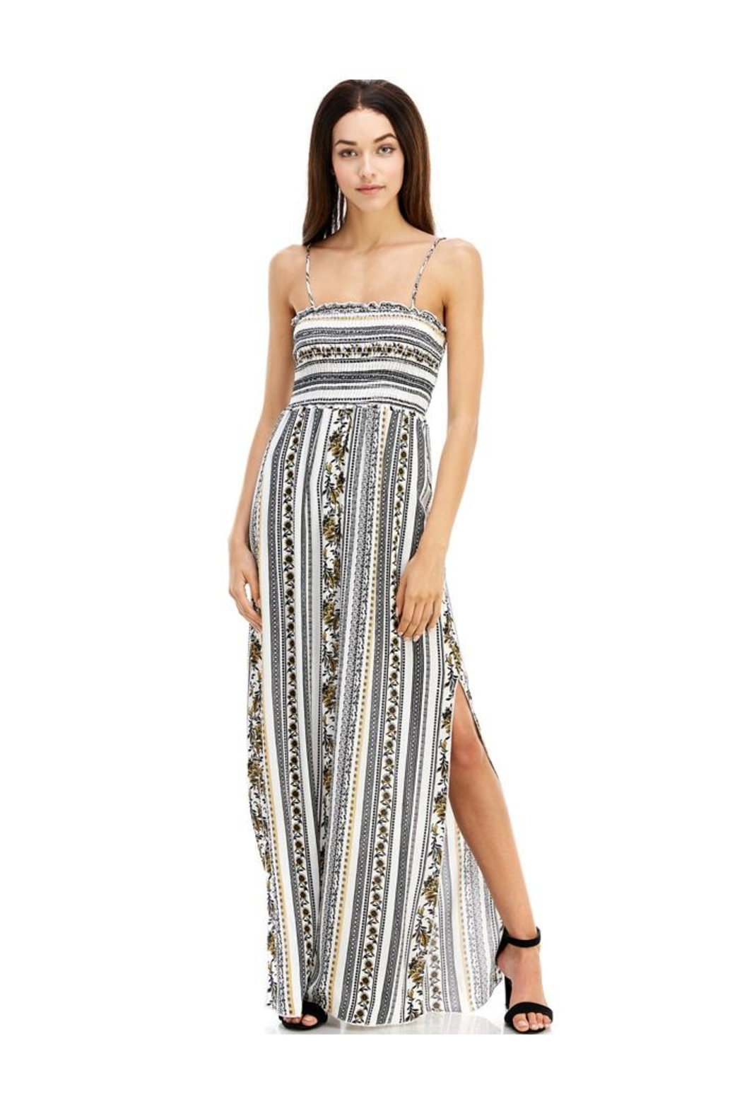 Miley and Molly Ethnic Linear Print Smocking Tube Top Maxi - Main Image
