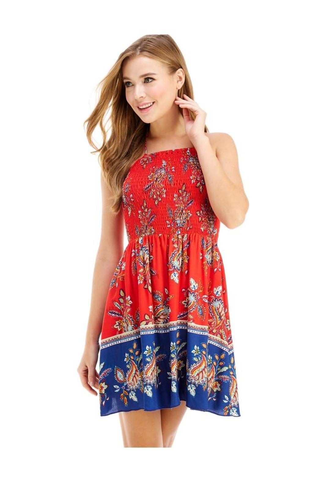 Miley and Molly Ethnic Print Hi-Neck Halter Dress - Main Image