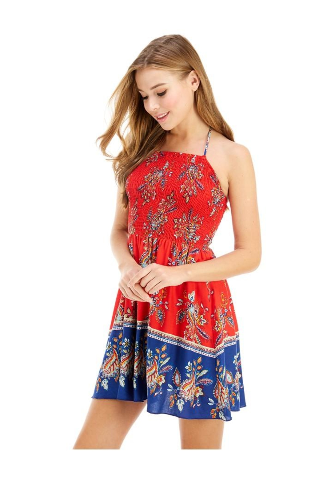 Miley and Molly Ethnic Print Hi-Neck Halter Dress - Front Full Image