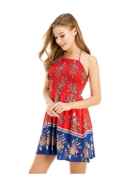 Miley and Molly Ethnic Print Hi-Neck Halter Dress - Front full body