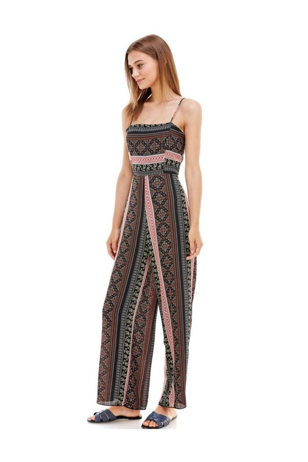 Miley and Molly Ethnic Print Tie Back Tube Jumpsuit - Front Full Image