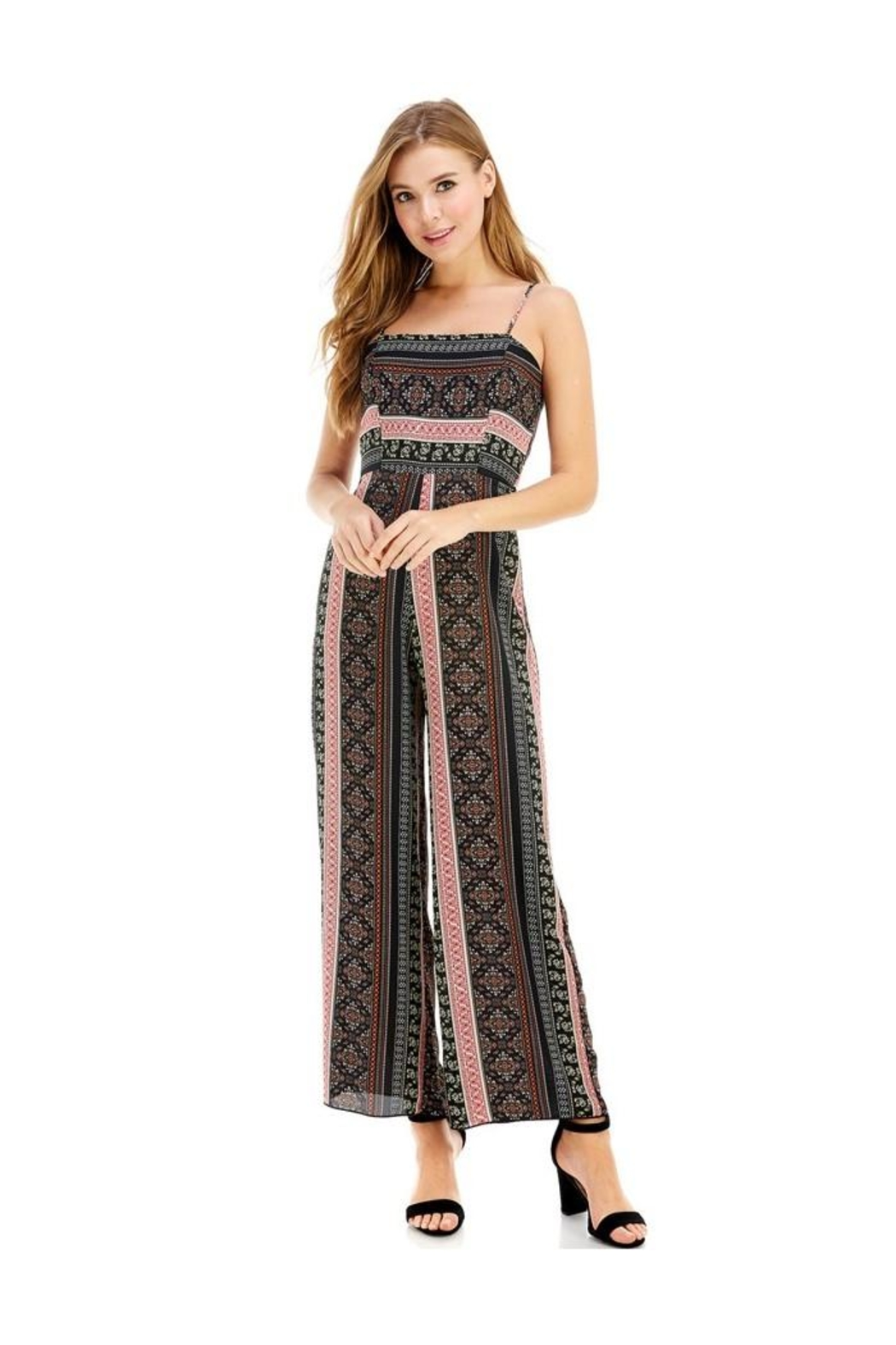 Miley and Molly Ethnic Print Tie Back Tube Jumpsuit - Main Image