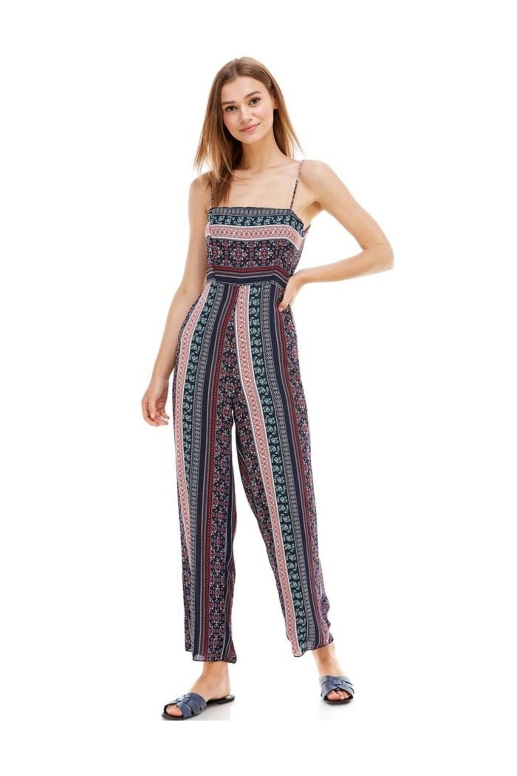 Miley and Molly Ethnic Print Tie Back Tube Jumpsuit - Front Cropped Image