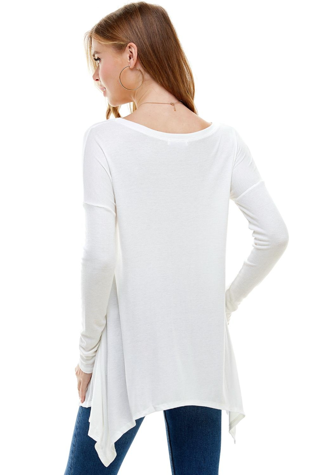 Miley and Molly Everyday Favorite Ribbed Knit Top - Back Cropped Image