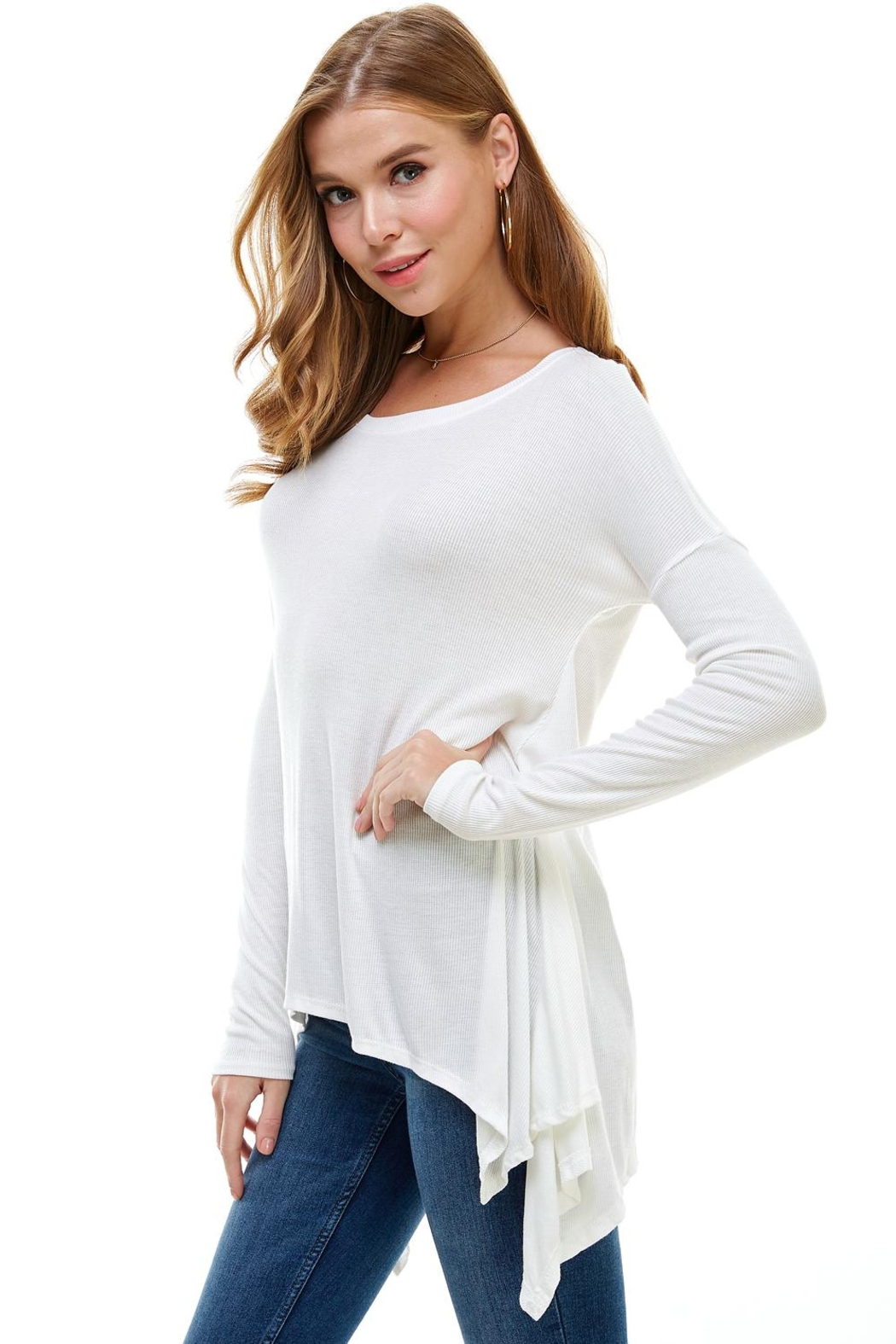 Miley and Molly Everyday Favorite Ribbed Knit Top - Front Full Image