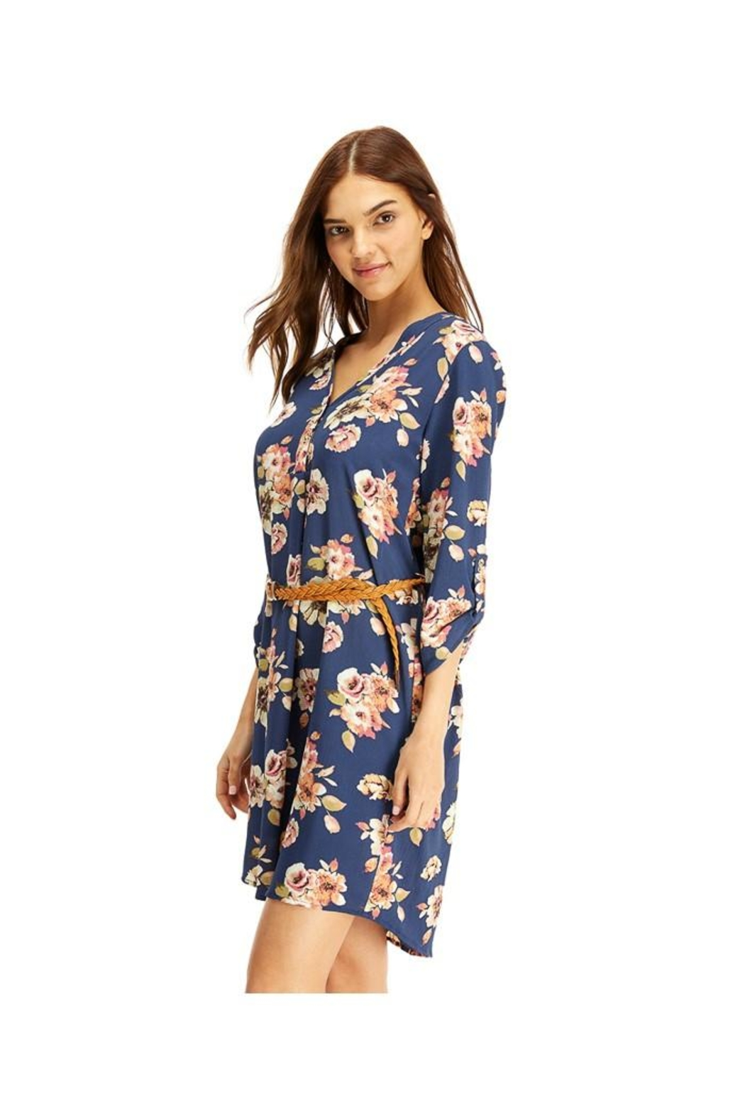 Miley and Molly Floral Belted Tunic Dress Top - Front Full Image