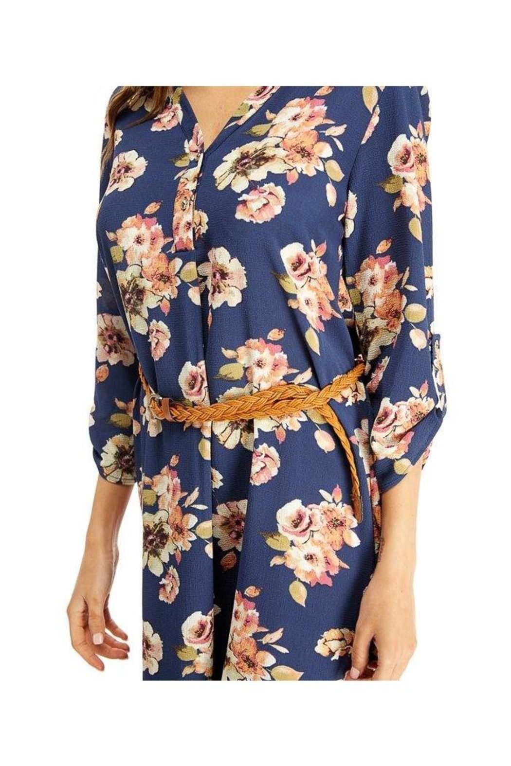 Miley and Molly Floral Belted Tunic Dress Top - Side Cropped Image