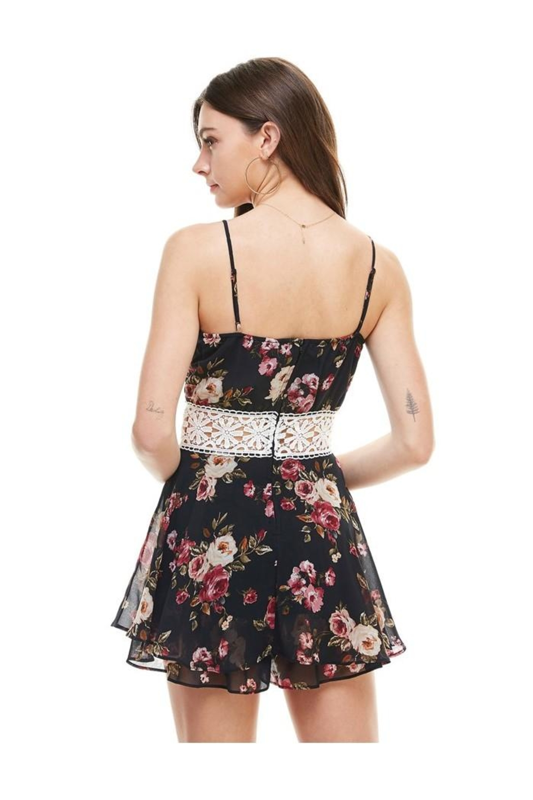 Miley and Molly Floral Crochet Waist Skort Romper - Back Cropped Image