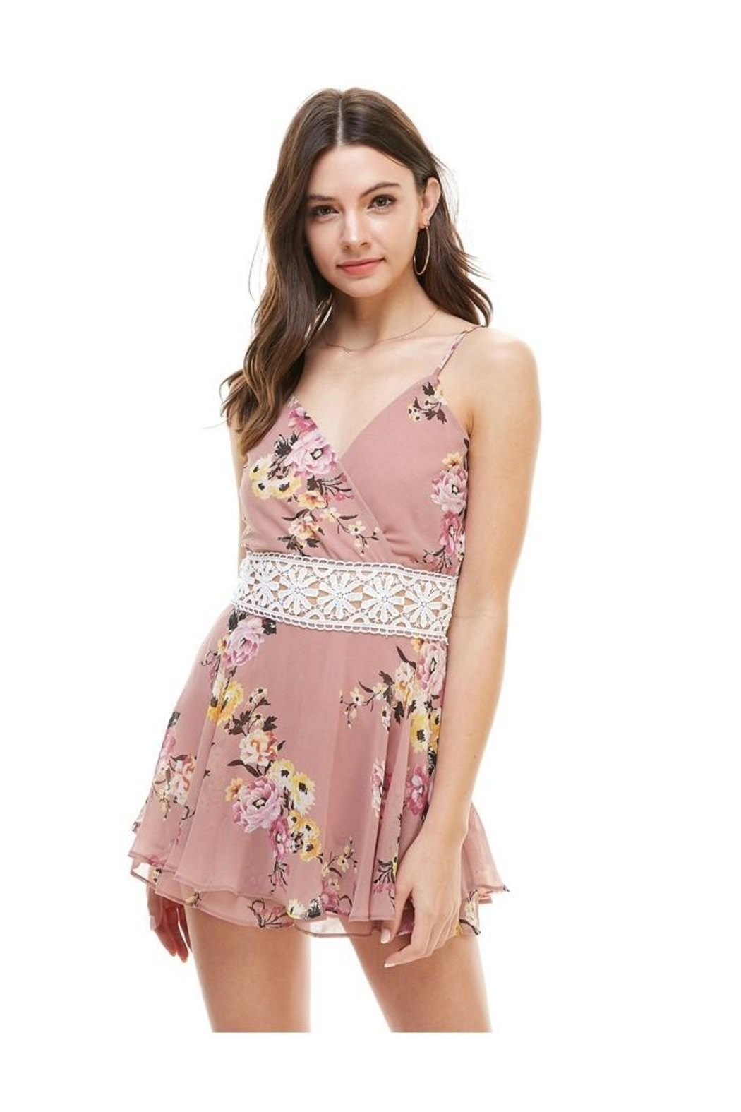 Miley and Molly Floral Crochet Waist Skort Romper - Front Cropped Image