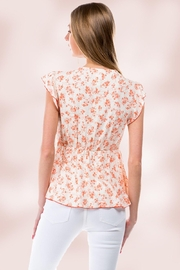 Miley and Molly Floral Ditsy Tie Front Flutter Sleeve Babydoll Top - Side cropped