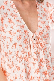 Miley and Molly Floral Ditsy Tie Front Flutter Sleeve Babydoll Top - Back cropped