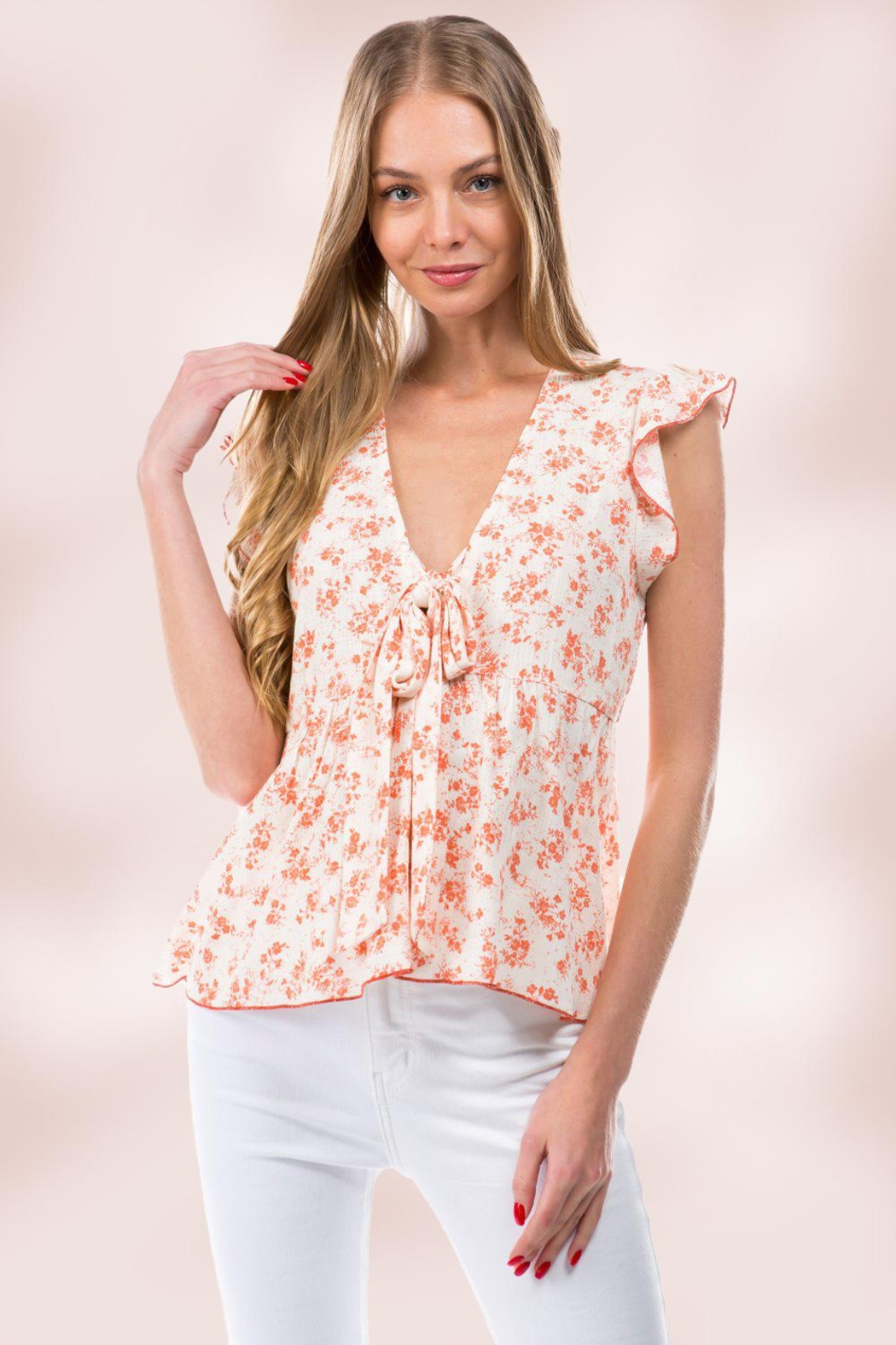 Miley and Molly Floral Ditsy Tie Front Flutter Sleeve Babydoll Top - Main Image
