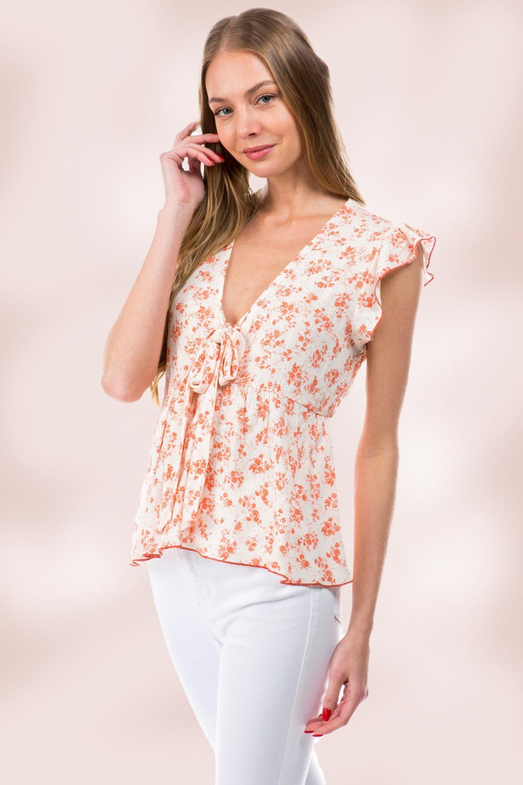 Miley and Molly Floral Ditsy Tie Front Flutter Sleeve Babydoll Top - Front Full Image