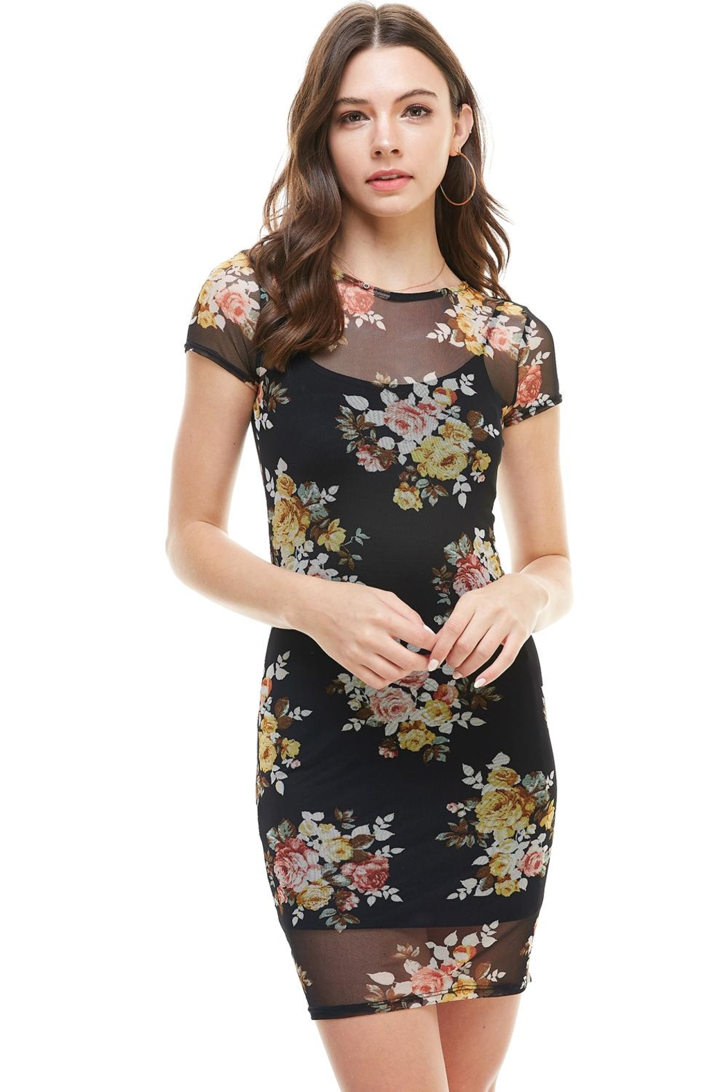 Miley and Molly Floral Inner Lined Mock Neck Cap Sleeve Fitted Dress - Main Image