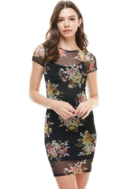 Miley and Molly Floral Inner Lined Mock Neck Cap Sleeve Fitted Dress - Product Mini Image