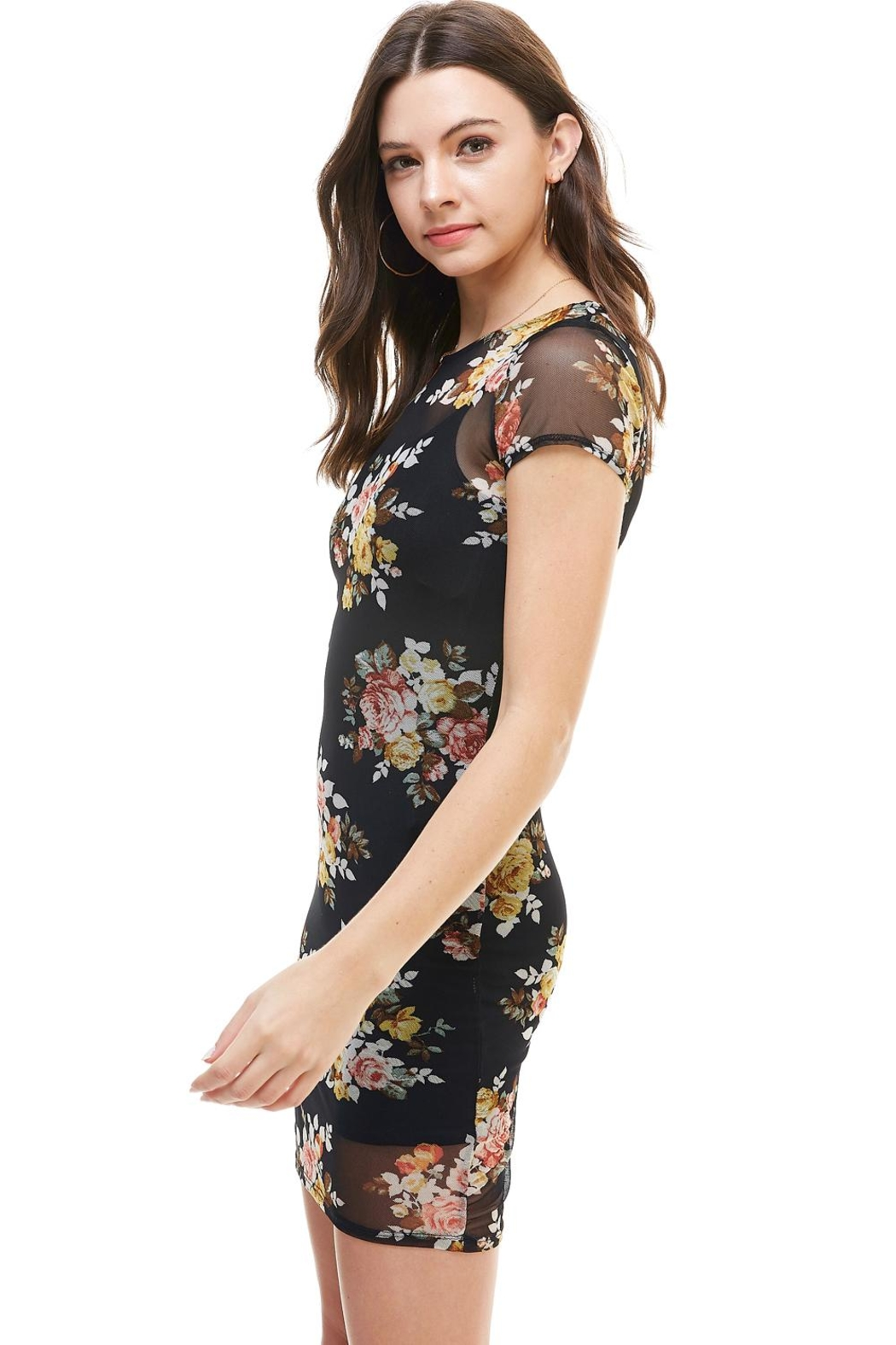 Miley and Molly Floral Inner Lined Mock Neck Cap Sleeve Fitted Dress - Front Full Image